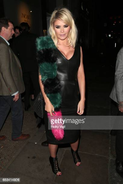 Chloe Sims on a night out leaving Nobu Berkeley St restaurant on March 14 2017 in London England