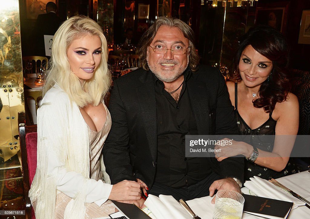 Chloe Sims, Robert Tchenguiz and Rena Kirdar Sindi attend a private dinner hosted by Fawaz Gruosi, founder of de Grisogono, at Annabels on April 28, 2016 in London, England.