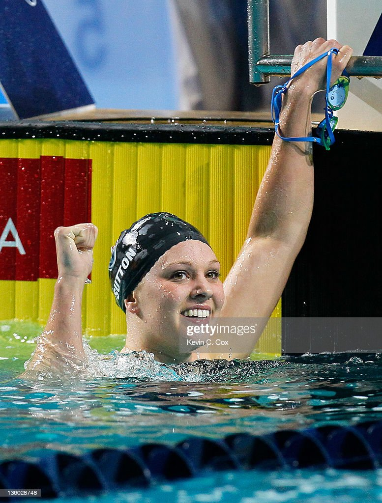 <a gi-track='captionPersonalityLinkClicked' href=/galleries/search?phrase=Chloe+Sutton&family=editorial&specificpeople=710961 ng-click='$event.stopPropagation()'>Chloe Sutton</a> reacts after winning the Women's 400m Freestyle during the Duel in the Pool at the Georgia Tech Aquatic Center on December 16, 2011 in Atlanta, Georgia.