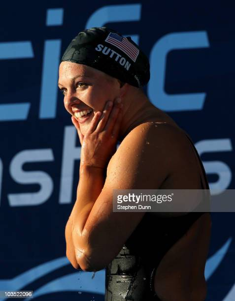 Chloe Sutton reacts after winning the women's 400m freestyle final during the Mutual of Omaha Pan Pacific Championships at the William Woollett Jr...