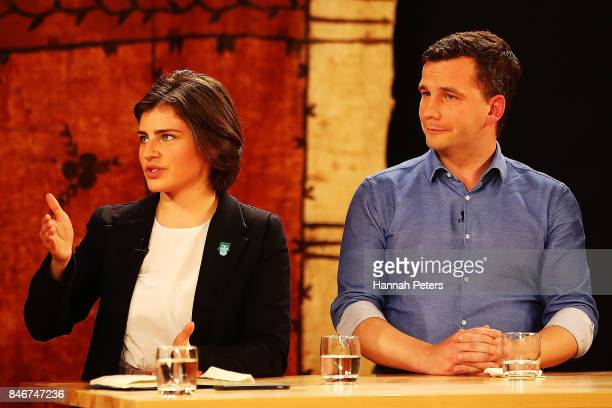 Chloe Swarbrick of the Green Party and David Seymour of the Act Party debate during the 1 NEWS Young Voters Debate at Auckland University on...