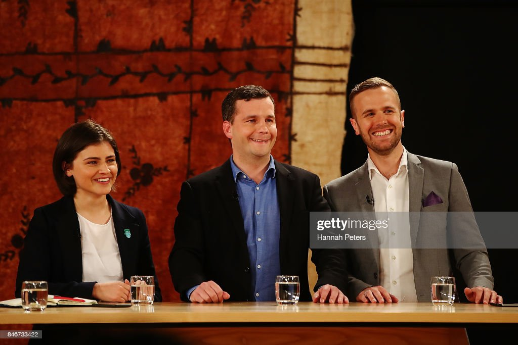 Chloe Swarbrick of the Green Party, David Seymour of the Act Party and Damian Light of the United Future Party during the 1 NEWS Young Voters Debate at Auckland University on September 14, 2017 in Auckland, New Zealand.