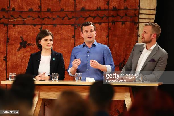 Chloe Swarbrick of the Green Party David Seymour of the Act Party and Damian Light of the United Future Party during the 1 NEWS Young Voters Debate...