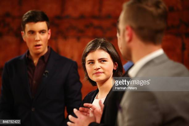 Chloe Swarbrick of the Green Party looks on during the 1 NEWS Young Voters Debate at Auckland University on September 14 2017 in Auckland New Zealand