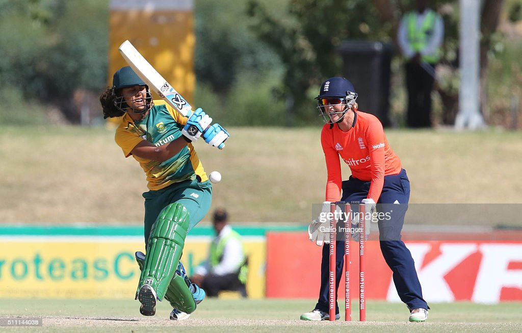 Chloe Tryon of South Africa during the 1st T20 International match between South African Women and England Women at Boland Park on February 18 2016...