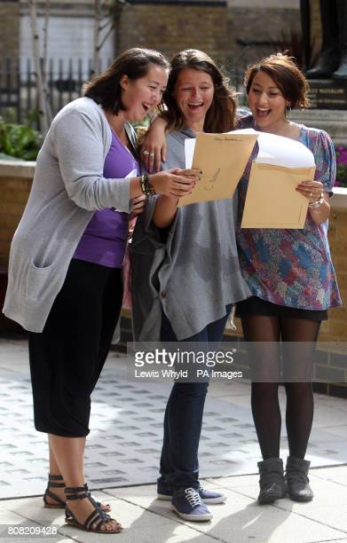 Chloe Warrick Charis Belcher and Daniela Gatta at Westminster City School celebrating their A level results
