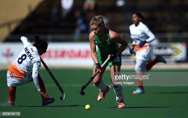 Chloe Watkins of Ireland battles with Nikki Pradhan of India during day 8 of the FIH Hockey World League Women's Semi Finals 7th/ 8th place match...
