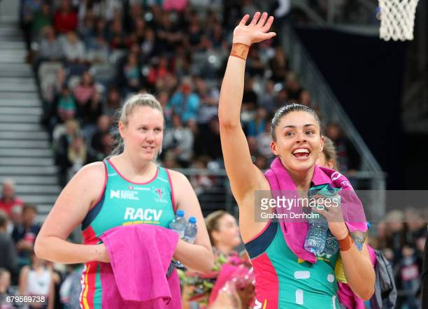 Chloe Watson of the Vixens celebrates victory following the round 11 Super Netball match between the Vixens and the Firebirds at Hisense Arena on May...