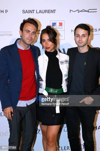 Chloe Wise standing between Stylists of Courreges Arnaud Vaillant and Sebastien Meyer attend the ANDAM 2017 Prize Winner Cocktail at Ministere de la...