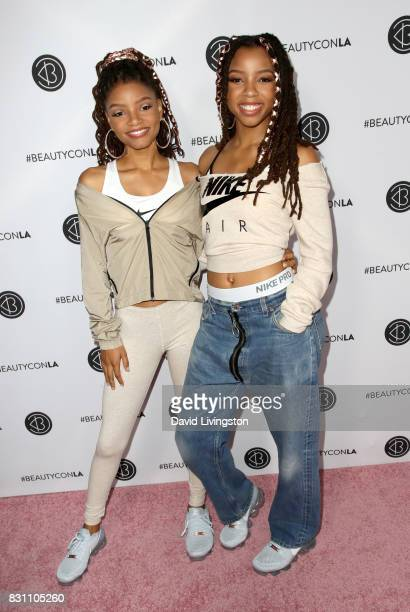 Chloe X Halle attend Day 2 of the 5th Annual Beautycon Festival Los Angeles at the at Los Angeles Convention Center on August 13 2017 in Los Angeles...