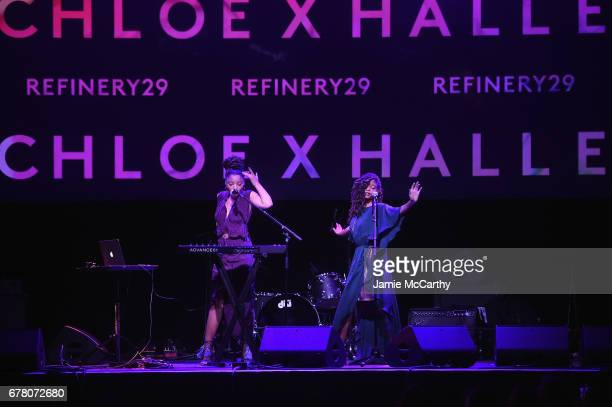 Chloe x Halle perform onstage at Refinery29's Newfronts presentation OUR PARTY IS WOMEN on May 3 2017 in New York City