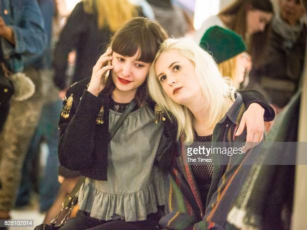 ChloeMarie Kikillus and Amber Maxtedduring the opening of the Andy Warhol exhibition at the Wits Art Museum on July 26 2017 in Johannesburg South...