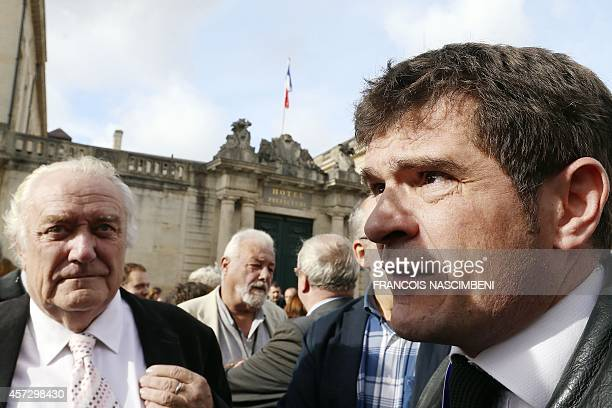 ChâlonsenChampagne's mayor Benoist Apparu and President of the Regional council JeanPaul Bachy take part in a demonstration on October 16 2014 in...