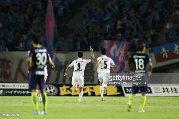 Cho Dong Geon of Sagan Tosu celebrates scoring the opening goal during the JLeague J1 match between Sanfrecce Hiroshima and Sagan Tosu at Edion...