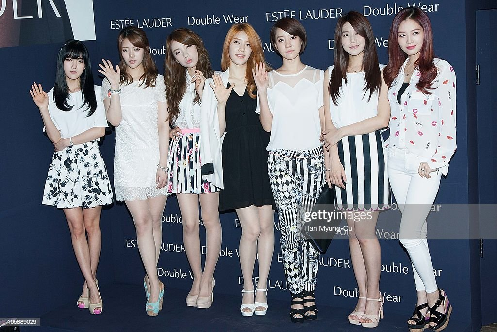 Cho Hyun-Young, Jung Yoon-Hye (Chung Yoon-Hye), Kim Ji-Sook, No Eul, Koh Woo-Ri, Oh Seung-A and Kim Jae-Kyung of South Korean girl group Rainbow attend the 'Estee Lauder' Double Wear Lounge opening at Coffee Smith on April 5, 2013 in Seoul, South Korea.