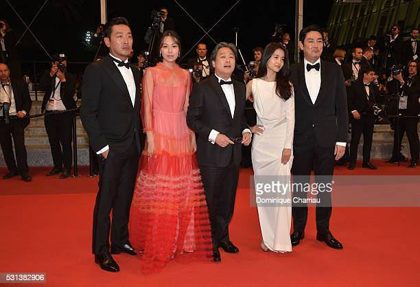 Cho Jinwoong Kim MinHee Park ChanWook Kim TaeRi and Jo JingWoong attend 'The Handmaiden ' premiere during the 69th annual Cannes Film Festival at the...