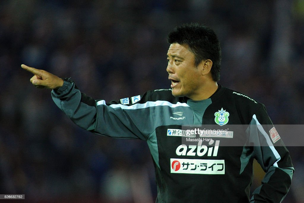 Cho Kwi Jae,coach of Shonan Bellmare looks on during the J.League match between Yokohama F.Marinos and Shonan Bellmare at the Nissan stadium on April 30, 2016 in Yokohama, Kanagawa, Japan.