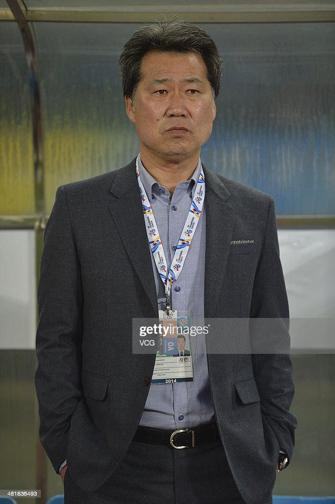 Cho Min-Kook, head coach of Ulsan Hyundai, looks on during the AFC Asian Champions League match between Guizhou Renhe and Ulsan Hyundai at Guiyang Olympic Centre on April 1, 2014 in Guiyang, China.