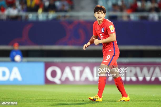 Cho Youngwook of Korea Republic reacts after missing a shot on goal during the FIFA U20 World Cup Korea Republic 2017 Round of 16 match between Korea...
