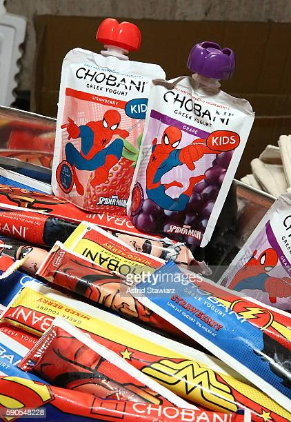 Chobani yogurt is displayed at The MOMS New York Family Magazine Cover Party at 100 Barclay on August 16 2016 in New York City