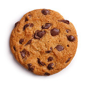 Choc Chip Cookie Isolated + Clipping Path