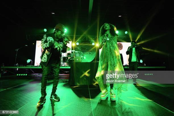 Choc Quib Town perform during Pandora Noche De Musica at Ice Palace Films Studios on April 25 2017 in Miami Florida