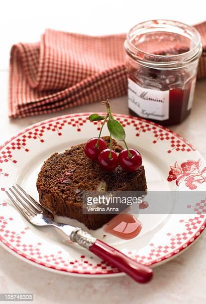 Chocolate and banana cake with cherry jam
