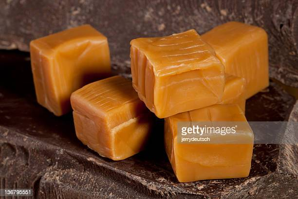 Chocolate and caramel cubes