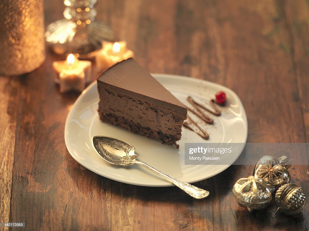 Chocolate and chestnut torte amongst festive decorations