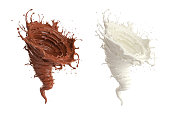 Chocolate and milk are spinning into a storm shape.The concept represents the power derived from the value of drinking.