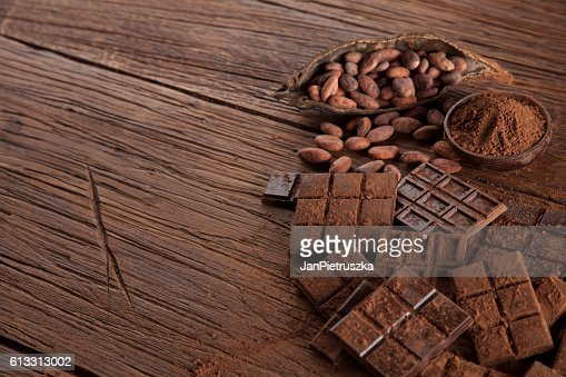 Chocolate bar, candy sweet, dessert food on wooden background : Stock Photo