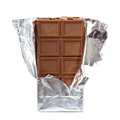 Chocolate bar isolated on white background top view