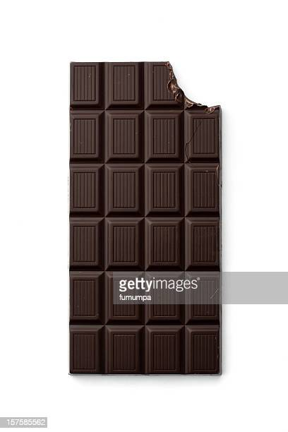 Chocolate bar with bite taken from top right corner