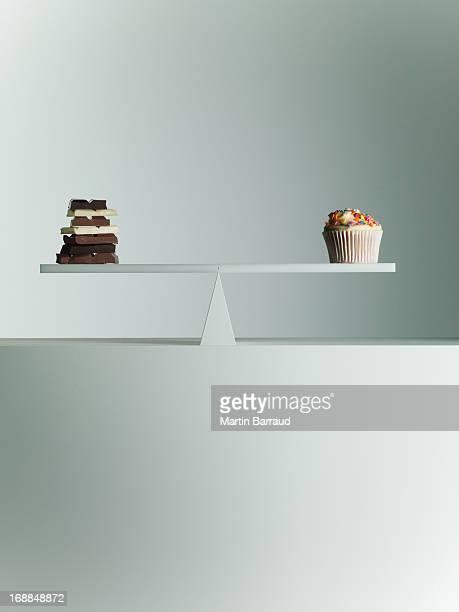 Barras de Chocolate e Bolinho equilibrada na Gangorra