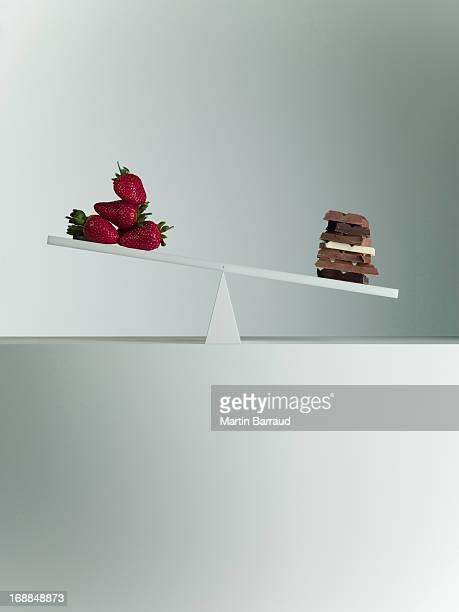 Cioccolato bar profilo Biciancola con fragole su estremità opposta