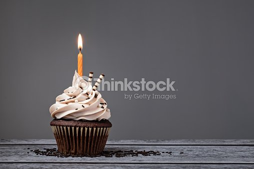 Chocolate Birthday Cupcake : Photo