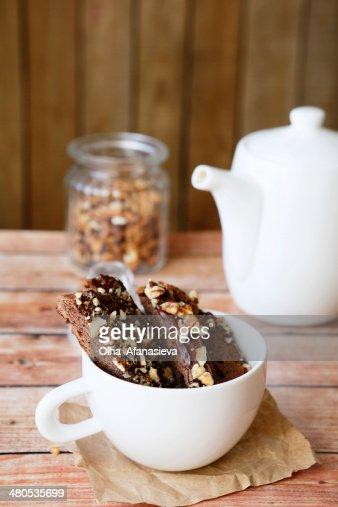 chocolate biscotti for tea : Stock Photo