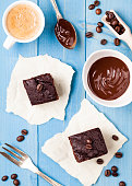 chocolate brownies cake with a coffee cup