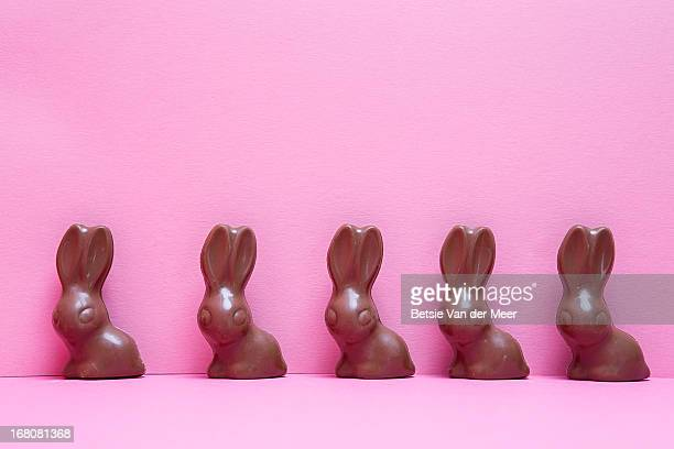 Chocolate bunnies in a row on pink background.