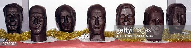 Chocolate busts of Russia's richest men Vladimir Potanin Roman Abramovich Boris Berezovsky Mikhail Khodorkovsky Mikhail Fridman Anatoly Chubais and...