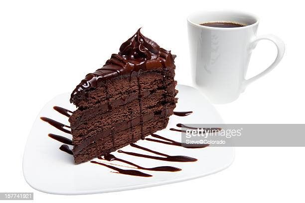 チョコレートケーキ、コーヒー