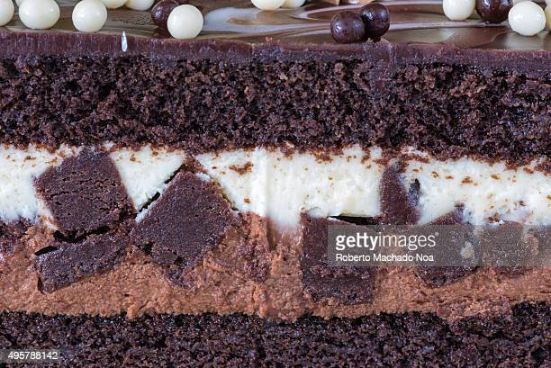 Chocolate cake details Delicious birthday cake beautifully decorated and looking irresistible to eat