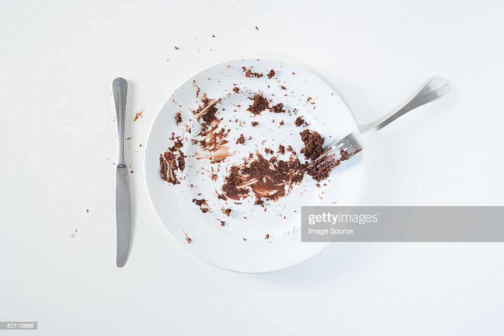 Chocolate cake leftovers : Stock Photo