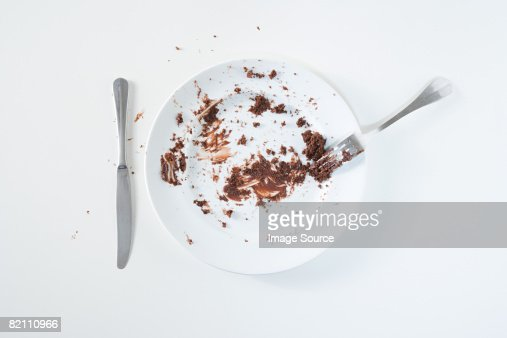 Chocolate cake leftovers : Stock Photo