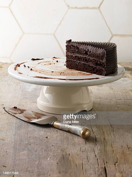 Chocolate cake on serving tray