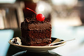 Chocolate Cake with Red Cherry