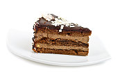 Chocolate cake slice on white dish isolated