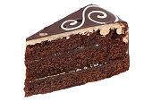 Chocolate cake tart dessert isolated on a white background