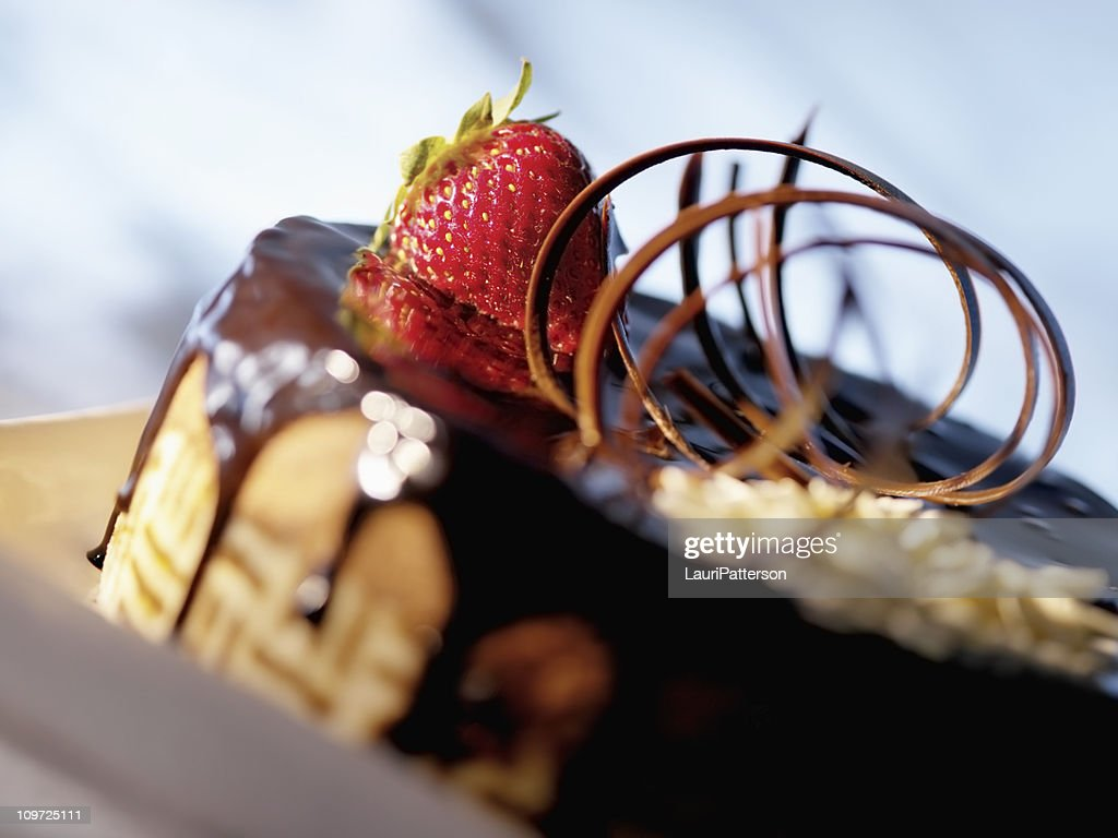 Chocolate Cake with a Starwberry : Stock Photo
