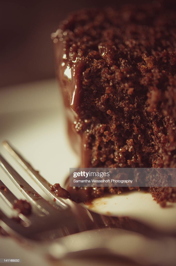 Chocolate cake with fork : Stock Photo